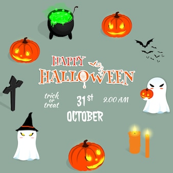 Happy halloween cartoon ghost  pumkin background vector