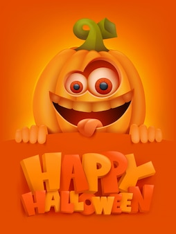 Happy halloween cartoon illustration with crazy pumpkin character.