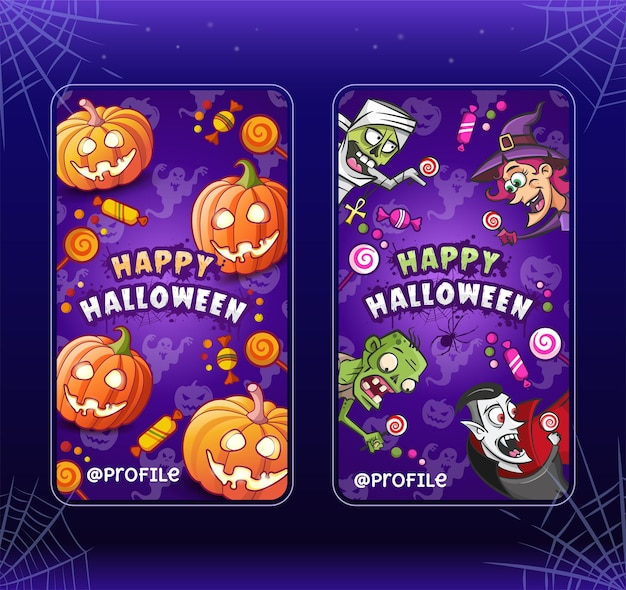 Happy halloween. cartoon illustrations templates for stories. collection. witch, zombie, pumpkins