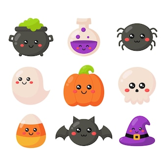 Happy halloween cartoon simple elements set isolated on white background