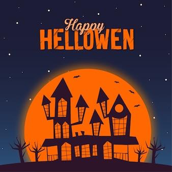 Happy halloween castle and moon illustration