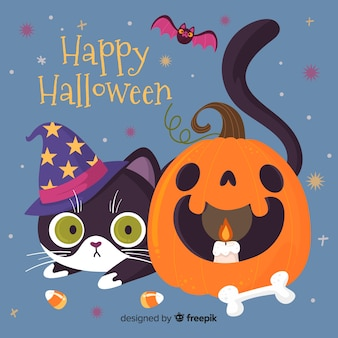 Happy halloween cat and curved pumpkin