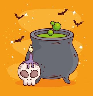 Счастливого хэллоуина, котел с черепом и свечой векторные иллюстрации дизайн