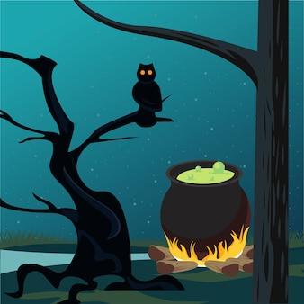 Счастливая карта празднования хэллоуина с котлом и сценой совы.