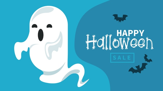 Happy halloween celebration card with ghost and bats flying