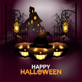 Happy halloween celebration card with glowing pumpkin on horror background
