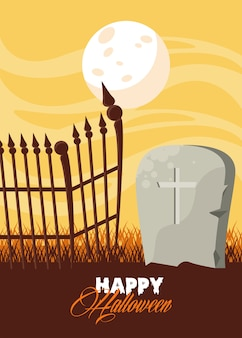 Happy halloween celebration card with grave and fence scene.