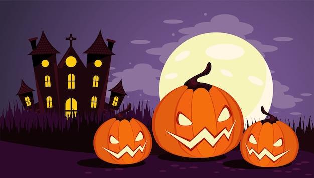 Счастливая праздничная открытка хэллоуина с замком с привидениями и тыквами