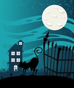 Счастливая карта празднования хэллоуина с домом с привидениями и сценой кошки.