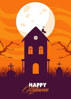 Happy halloween celebration card with haunted house and cat.