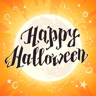 Happy halloween celebration card with lettering congratulation.