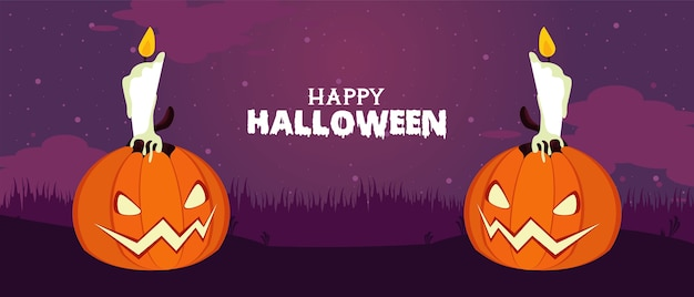 Happy halloween celebration card with pumpkins and candles