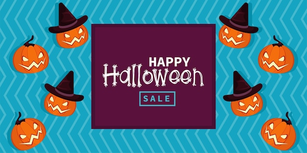 Happy halloween celebration card with pumpkins and lettering