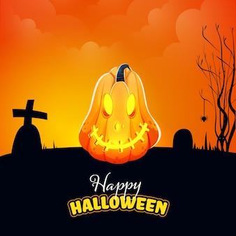 Happy halloween celebration concept with jack-o-lantern on black and orange cemetery background.