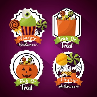 Happy halloween celebration day set