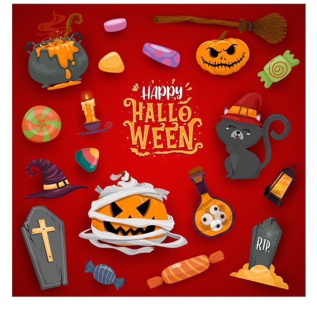 Happy halloween celebration illustrations