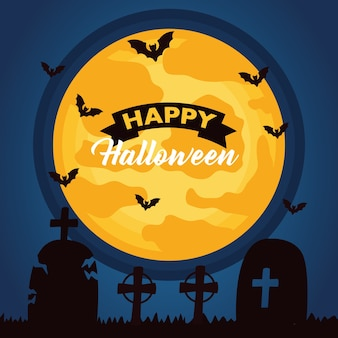 Happy halloween celebration lettering with moon and bats flying in cemetery