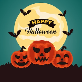 Happy halloween celebration lettering with pumpkins and bats flying at night