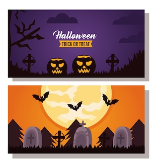 Happy halloween celebration lettering with pumpkins and cemetery scenes