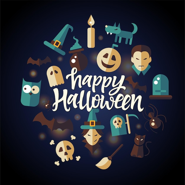 해피 할로윈 - 올빼미, 뱀파이어, 마녀 모자와 빗자루, 호박, 검은 고양이, 거미, 늑대 인간과 같은 무서운 상징과 함께 매끄러운 어두운 배경에 축하 포스터. 손으로 그린 브러쉬 펜 레터링
