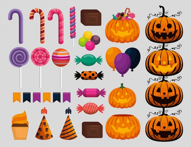 Happy halloween celebration set elements