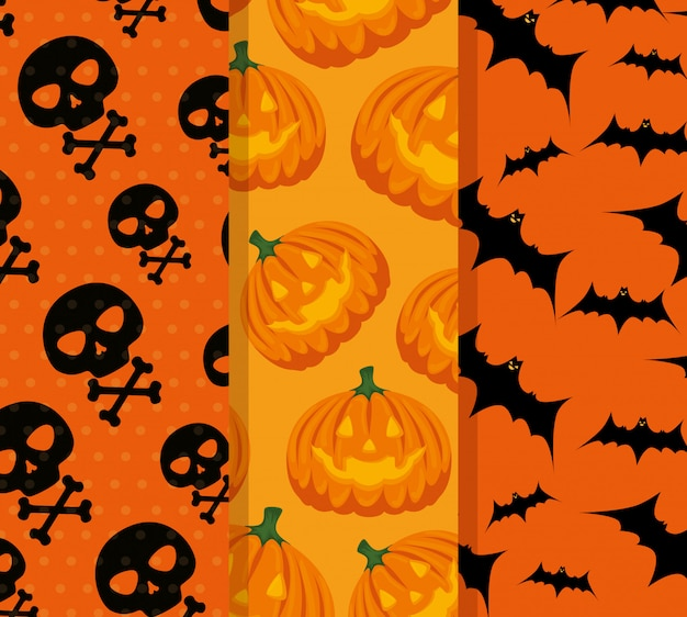 Happy halloween celebration set patterns