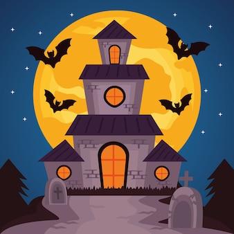 Счастливого празднования хэллоуина с замком с привидениями и летучими мышами, летающими векторной иллюстрацией