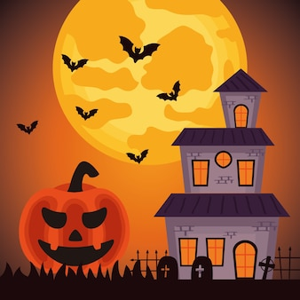 Happy halloween celebration with haunted castle and pumpkin in cemetery