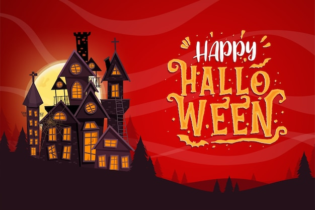 Happy halloween celebration with haunted castle