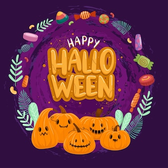 Happy halloween celebration with pumpkin and candies