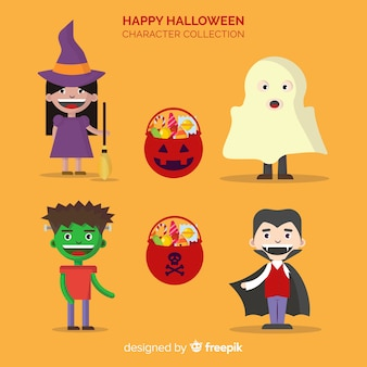 Happy halloween character collection in flat desing