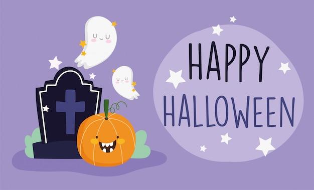 Happy halloween, cheerful pumpkins ghost gravestone trick or treat party celebration vector illustration