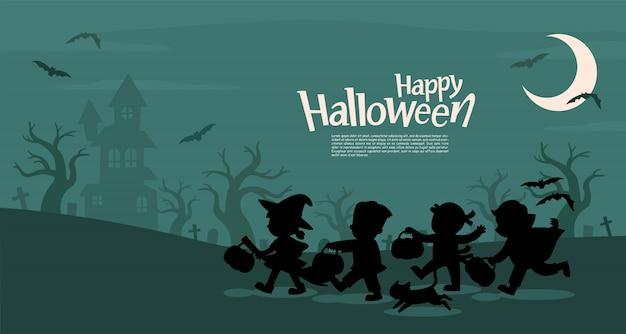 Счастливого хэллоуина. дети одеты в маскарадные костюмы на хэллоуин, чтобы пойти на «кошелек или жизнь» шаблон для рекламной брошюры.