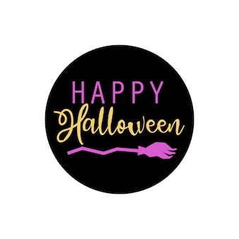Счастливые наклейки круга хэллоуина с метлой. идеально подходит в качестве значков для праздников, подсветки обложек