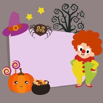 Happy halloween clown kids in flat style