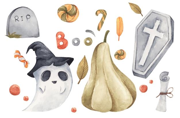 해피 할로윈 컬렉션. 흰색, 창의적인 디자인, 인쇄용 장식 요소에 손으로 그린 수채화 그림.