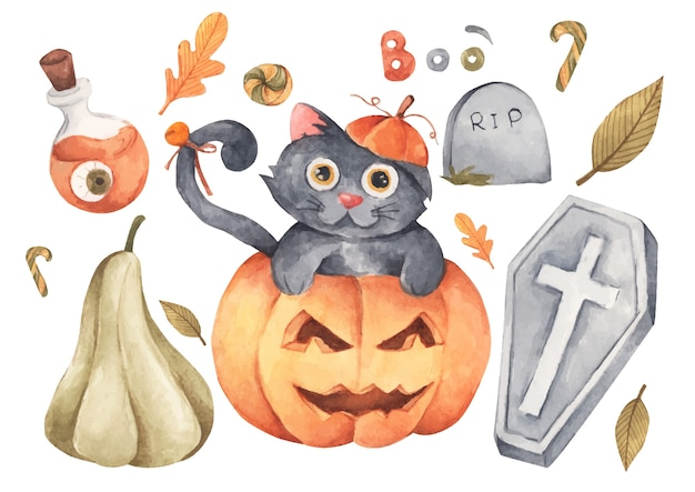 Happy halloween collection. hand drawn watercolour painting on white, elements for creative design, printable decor.