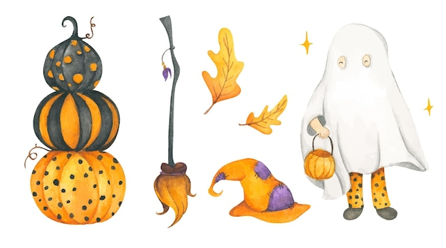 Happy halloween collection watercolor illustration
