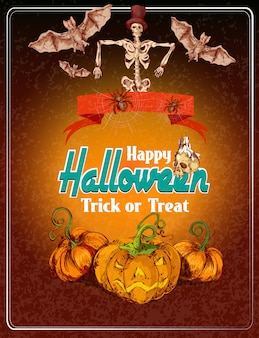 Happy halloween colored poster