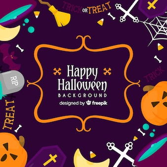 Happy halloween colorful background with elements