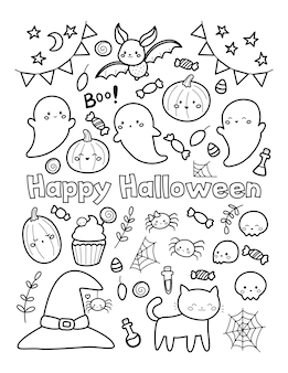 Happy halloween coloring page for children
