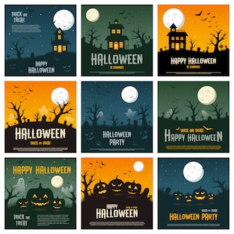 Happy halloween concept on orange, blue and green background,  illustration