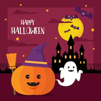 Happy halloween concept pumpkin witch hat and ghost