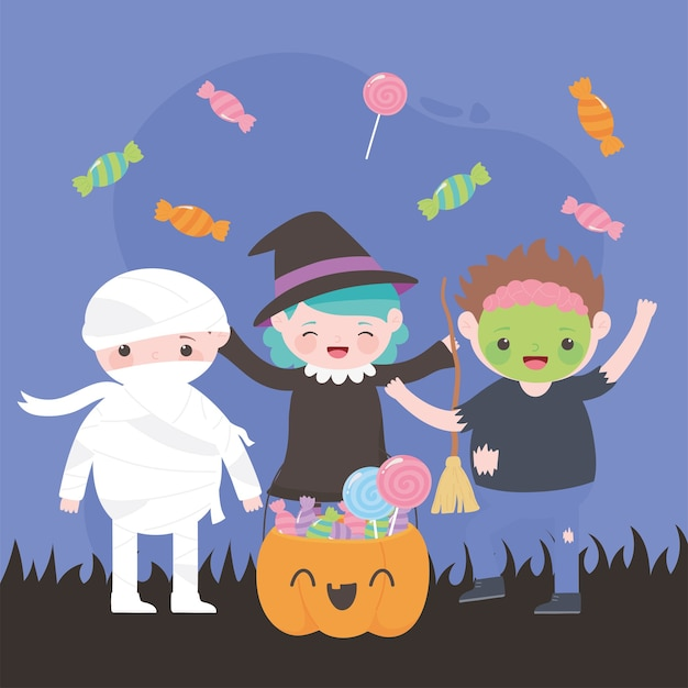 Happy halloween, costume characters zombie mummy witch with pumpkin and candies, trick or treat, party celebration