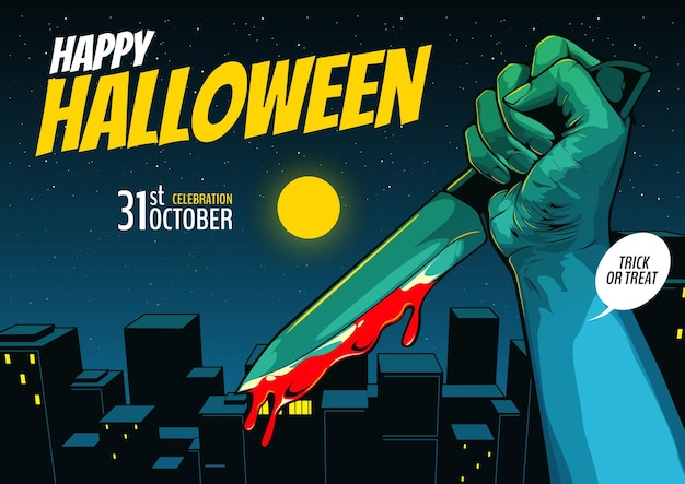 Happy halloween, cover template, hand holding a knife on night city background.
