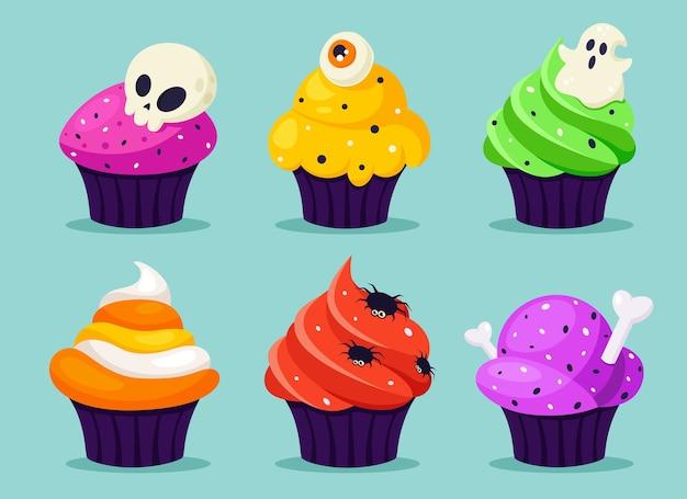 Счастливого хэллоуина. жуткие кексы с глазом, пауком, призраком. в плоском стиле.