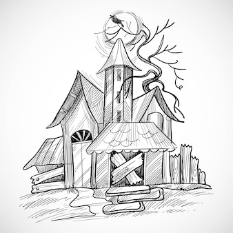 Happy halloween creepy house sketch design