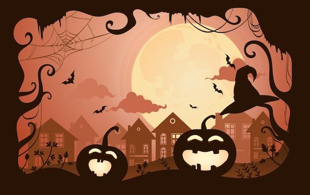 Счастливого хэллоуина. жуткий тыквы и силуэты леса.