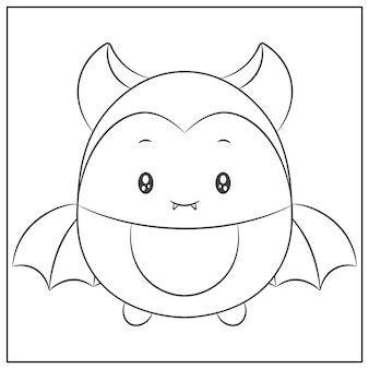 Happy halloween cute bat drawing sketch for coloring