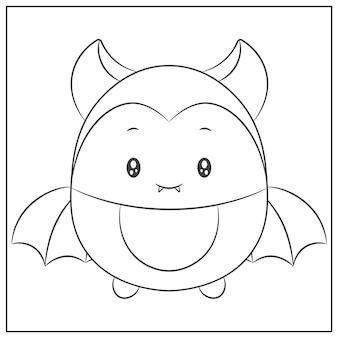 해피 할로윈 귀여운 박쥐 색칠 스케치 그리기